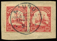 Lot 1577 [1 of 2]:1901 Yacht selection incl 3pf on piece, 5pf, 10pf (7, incl a pair on piece), 20pf, (3) & 40pf. All with Nauru cancels. Mixed condition. (12 Items)