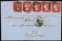 Lot 1674 [3 of 6]:1860s-1919 Selection to Overseas destinations incl 1908 PPC to Argentina; to Aust States incl NSW, Tas (2, one with 6d green used in 1885), Victoria; to Canada (4); to Chile, to France (7) incl 1d red letters strip of 5 to Paris, 1d red strip of 4 to same addressee, 1864 with 'PD' in oval, CJ Hambro cachet alongside s/l 'FRANCO'; to Germany; to India 1866 battered cover with 11 transit markings; to USA with 1861 'PAID AT EDINBURGH'. Mixed condition. (20)