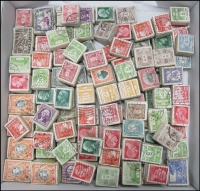Lot 18:World 0.46kg Off-paper in neat bundles of 100 incl Canada, Denmark, France, GB, Italy, Japan, KUT KGVI 20c (500) & 50c (100), Nyasaland KGVI 1d (100), Poland, South Africa, USA. Perhaps some postmark interest. (1,000s)