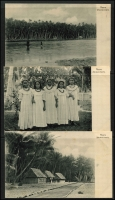 Lot 1434 [5 of 9]:C1900 Black & White Postcards: all with 'Nauru. (Marshall-Inseln.)' showing local scenes incl Families, Huts, Lagoons, Costumes (or lack there of), Fish, Church, Village Scenes, etc. All divided back & unaddressed. (23)