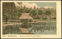 Lot 1435 [2 of 4]:C1900 Coloured Postcards: all with 'Nauru. Marshall-Inseln.' showing local scenes incl 'Eingeborenenhütte in der Lagune.', 'Haus des Stationsleiters.', 'Ansicht der Ladebrücke No.2.', Lagune in Anibare.'. All divided back & unaddressed. Most with 'W. Storch Photo' printed on reverse. (4)