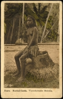 Lot 1436 [5 of 5]:C1900 Sepia Postcards: all with 'Nauru. Marshall-Inseln' showing local scenes incl 'Wasserholendes Mädchen', 'Eingeborene Kinder', 'Weg an der Lagune', 'Nauru-Mädchen' and 'Strand'. All divided back & unaddressed. Most with 'W. Storch Photo' printed on reverse. Odd minor blemish. (5)