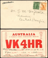 Lot 1423 [1 of 7]:1913-55 Miscellany incl 1913 1d Lettercard (Mt. Lofty Ranges, South Australia) to Nauru, 1926 PPC of Choir Girls (?) with Ships ½d, 1d & 1½d tied by NAURU cds, c1920 PPC (A Steamer Loading At Nauru - message on reverse). 1954 Picts (9) on illustrated FDC, 3½d on commercial cover to NSW. 1955 Radio reception card from Hungary, QSL card from Qld to Nauru. Mixed condition. (7)
