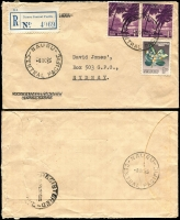 Lot 1433 [2 of 3]:1954-65 Registered Commercial Cover selection (all roughly opened) to New South Wales. Two covers at 1/0½d rate and 4 at 2/5d rate. Two different types of registration label. (6)