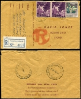 Lot 1433 [1 of 3]:1954-65 Registered Commercial Cover selection (all roughly opened) to New South Wales. Two covers at 1/0½d rate and 4 at 2/5d rate. Two different types of registration label. (6)