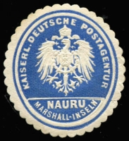 Lot 1411:Kaiserl. Deutsch Postagentur Consular seal in blue for Nauru.