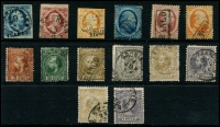 Lot 1771:1852-94 Collection incl 1852-63 Imperf 5c, 10c & 15c, 1864 5c, 10c & 15c, 1867-69 15c, 20c & 50c, 1869-76 1c black, 1872-91 50c, 1g, 1891-94 50c, 1g. Very high catalogue value. Generally fine. (14)