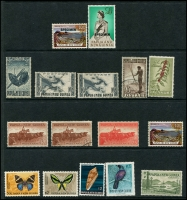 Lot 1307 [2 of 2]:New Guinea 1915-39 incl 1915-16 Roo 2/-, few unused 1939 Airs to 1/-, Papua incl 1932 Picts 1/3d, 2/- & 2/6d, used, PNG 1952 Picts 10/- (2), £1 all used, 1958-60 Picts 1/7d (2, one MUH), 1963 10/- (without gum) & £1 (MLH) both optd 'SPECIMEN', few later issues to 5k Bird. Mixed condition. (40)