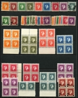 Lot 1776:1954-63: set (9, plus 1959 & 61 issues), all used, plus 1954-63 MUH selection in blocks incl 9d (2 blocks of 4), 1/- (2 blocks of 4), 3/- (6, incl block of 4), plus several other odd values. SG #O159-O169. STC CP Cat NZ$600. (69)