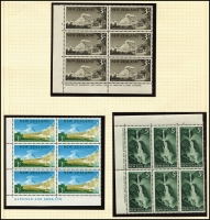 Lot 1767 [2 of 4]:1960-66 Pictorials with ½d to 8d in Plate No blocks of 8 and imprint blocks of 6 from 9d to £1. SG #781-802, Cat £330+. Retail A$780. (158)
