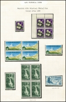 Lot 1783 [6 of 8]:1967 and 1967-70 Pictorials incl 1967 Picts set of 18 plus additional ½c to 50c in blocks of 4 (3c block has Large white flaw on 'Z' of 'Zealand' [CP ODV5e]), plus several reprints with Polyvinyl (Matte) gum 4c, 30c & 50c in blocks of 4, plus $1 Glacier. 1967-70 Pictorials incl various blocks to 28c, $2 multicolour Geyser single plus 7½c blocks with additional 'perf hole', also 1967 Picts (18 on locally addressed registered FDC), CP Cat NZ $870+. (240+)