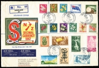 Lot 1783 [1 of 8]:1967 and 1967-70 Pictorials incl 1967 Picts set of 18 plus additional ½c to 50c in blocks of 4 (3c block has Large white flaw on 'Z' of 'Zealand' [CP ODV5e]), plus several reprints with Polyvinyl (Matte) gum 4c, 30c & 50c in blocks of 4, plus $1 Glacier. 1967-70 Pictorials incl various blocks to 28c, $2 multicolour Geyser single plus 7½c blocks with additional 'perf hole', also 1967 Picts (18 on locally addressed registered FDC), CP Cat NZ $870+. (240+)