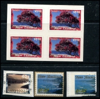 Lot 1788 [2 of 3]:1996-2004 Self-adhesive 40c Scenery strip of 7 & $1 Pohutukawa Tree strip of 6 & block of 4 in unissued format (MUH) plus 40c Tory Channel with Marlborough Sounds inscription missing, used on piece, 2002 $1.50 Meybelle Bay, West Coast (2, one with grossly misplaced perfs) on piece. (6 items)