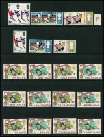 Lot 982 [3 of 6]:1953-54 Royal Visit: (13, complete), 1958 Caribbean Federation (30, complete), 1964 Shakespeare (25, complete), 1966 Royal Visit (34), Football (68, incomplete, incl Ghana, South Arabian Fed [both sets], no M/Ss), 1972 Silver Wedding (78), on 16 Hagners. Cat £150+. Many MUH. (c.200)