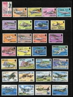 Lot 992 [6 of 10]:Aircraft/Aeroplanes: from A to Y countries in 16 folders on c.500 Hagners (!!!) from Albania with 1925 Airs (7), 1930 Airs to 2f, 1950 Airs (6, 10l, 20l used), Comoros 1998-89 Aviation Pioneers (7, CTO), Denmark 1934 Airs (5, used), Guinea 1959 Airs (2 sets, MUH), Mozambique, New Guinea, New Zealand, USA, etc. Numerous M/Ss, se-tenant strips, blocks, etc, too many to mention plus range of countries with 'issued in excess of postal needs' sets & M/Ss (some CTO), Also SG Collect Aircraft on Stamps. (2009, 2nd edition, few pen notations noted & Michel Flugzeuge-Ganze Welt 2016). Mostly MUH. Generally very fine. Cat in excess of £2,500. 18.7kg (1,000s)