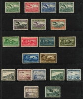 Lot 992 [1 of 10]:Aircraft/Aeroplanes: from A to Y countries in 16 folders on c.500 Hagners (!!!) from Albania with 1925 Airs (7), 1930 Airs to 2f, 1950 Airs (6, 10l, 20l used), Comoros 1998-89 Aviation Pioneers (7, CTO), Denmark 1934 Airs (5, used), Guinea 1959 Airs (2 sets, MUH), Mozambique, New Guinea, New Zealand, USA, etc. Numerous M/Ss, se-tenant strips, blocks, etc, too many to mention plus range of countries with 'issued in excess of postal needs' sets & M/Ss (some CTO), Also SG Collect Aircraft on Stamps. (2009, 2nd edition, few pen notations noted & Michel Flugzeuge-Ganze Welt 2016). Mostly MUH. Generally very fine. Cat in excess of £2,500. 18.7kg (1,000s)