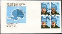 Lot 991 [4 of 8]:Antarctic Selection: 1959-89 from Australia incl 1957 set of 4 (2 FDCs), 1972 Cook set, 1979 Flight, 1982 Mawson (4 sets in blocks), 1983 Bird strips (4, all with the 4 Base cancels), also several Packs incl 1966 Defins (stamps askew), French Southern & Antarctic Territories 1989 Atlantic Treaty (3 unaddressed FDCs), Ross Dependency 1957 Picts (5 covers, various commem cancels). (52 Covers & 5 packs)