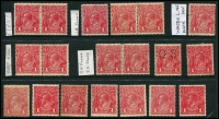 Lot 166:1d Red selection of varieties incl Secret mark, Ferns, frame lines, Wattle line - Wmk inverted, also perf 'OS' & private perfin. Mixed condition. (19)