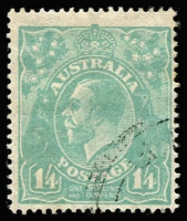Lot 311:1/4d Greenish-Blue centred to lower right, BW #129A, Cat $150.