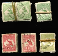Lot 6 [2 of 2]:½d to 3d ½d green (138, incl 25 pairs), 1d red (200), 3d olive (100). Retail $3,000 for singles. Many fine used and some postmark interest. (438)