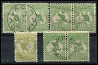 Lot 6 [1 of 2]:½d to 3d ½d green (138, incl 25 pairs), 1d red (200), 3d olive (100). Retail $3,000 for singles. Many fine used and some postmark interest. (438)