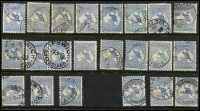 Lot 41 [2 of 2]:6d Blue fine used selection incl one CTO (no gum). Retail $460. (24)