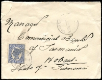 Lot 732 [5 of 5]:1901-07 Tatt's Covers to Hobart from NSW (5), Qld (11) & Vic (4, incl 1904 'Taxed' cover from Crossley, 1901 registered cover from Gordon) to 5 different addressees. All with usual spike hole. Mixed condition. (20)