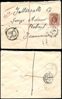 Lot 732 [1 of 5]:1901-07 Tatt's Covers to Hobart from NSW (5), Qld (11) & Vic (4, incl 1904 'Taxed' cover from Crossley, 1901 registered cover from Gordon) to 5 different addressees. All with usual spike hole. Mixed condition. (20)