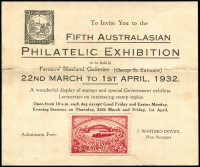Lot 992 [1 of 8]:Philatelic Exhibitions 1932-2000s: in 64 page stockbook incl 1932 Invitation to 1932 5th Australian Philatelic Exhibition, WAPEX 1954, ANPEX 72, THEMEX 74, SYDPEX 80, ANPEX 82, WARATAHPEX 84, AUSIPEX 84, SOUTHPEX 86, AEROPEX 88, NORPEX 91, GENOVA 92, PACIFIC EXPLORER 2005, 2007 SAPC Congress cover in special SAPC folder signed by Arthur Bergen, 2017 Women in War M/S (2, both optd 'Brisbane Stamp & Coin Show' with gold cancels). Also selection of 'Lions' Christmas seals. Generally very fine. (c.100 items)