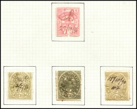Lot 855 [2 of 5]:1884-96 Postal Fiscals Range incl 1d green (2, one opt Reprint) 1d blue, 1d brown (2, one opt Reprint), 6d blue (no gum), 1/- blue/yellow, 1/6d red (2), 2/- blue/green, 5/-purple/yellow (2), mauve, red (2, one on piece), green on piece, 10/- brown/pink (torn CTO?), 10/- brown, 10/- green, 15/- mauve, 15/- brown (2), £1 orange (3), 25/- pink, £1.10.0. (3, shades), £2 blue (2, shades), 45/- pale violet. Mixed condition, mainly fiscal cancels. (36)