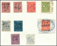 Lot 855 [4 of 5]:1884-96 Postal Fiscals Range incl 1d green (2, one opt Reprint) 1d blue, 1d brown (2, one opt Reprint), 6d blue (no gum), 1/- blue/yellow, 1/6d red (2), 2/- blue/green, 5/-purple/yellow (2), mauve, red (2, one on piece), green on piece, 10/- brown/pink (torn CTO?), 10/- brown, 10/- green, 15/- mauve, 15/- brown (2), £1 orange (3), 25/- pink, £1.10.0. (3, shades), £2 blue (2, shades), 45/- pale violet. Mixed condition, mainly fiscal cancels. (36)