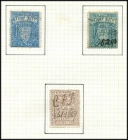 Lot 855 [1 of 5]:1884-96 Postal Fiscals Range incl 1d green (2, one opt Reprint) 1d blue, 1d brown (2, one opt Reprint), 6d blue (no gum), 1/- blue/yellow, 1/6d red (2), 2/- blue/green, 5/-purple/yellow (2), mauve, red (2, one on piece), green on piece, 10/- brown/pink (torn CTO?), 10/- brown, 10/- green, 15/- mauve, 15/- brown (2), £1 orange (3), 25/- pink, £1.10.0. (3, shades), £2 blue (2, shades), 45/- pale violet. Mixed condition, mainly fiscal cancels. (36)