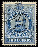 Lot 869:1901-10 'POSTAGE' Wmk 4th V/Crown Perf 12x12½ or 12½ £2 deep blue, perf 'OS' sideways, SG #400, CTO without gum.