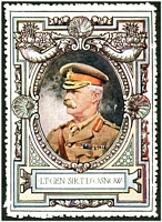 Lot 15:Great Britain: c.1916 multicoloured label with portrait of Lt-Gen Sir T D'Osnow issued for Lord Roberts Memorial Fund.