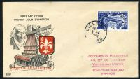 Lot 16909:1951 Textile Industry 25f blue tied to illustrated FDC by Lille cds 9-4 1951.