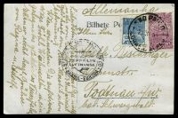 Lot 2690:1935 use of PPC of San Paulo sent to Germany with black Condor Zeppelin Lufthansa handstamp.