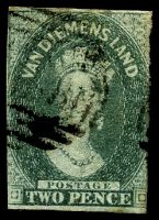Lot 3358:1857-69 Imperf Chalon Wmk Double-Lined Numeral SG #34 2d slate-green 2½ clear margins, Cat £55.