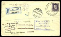 Lot 20269 [1 of 2]:1934 Registered cover to Dunedin with 4d violet KGV tied by Wellington cds 20SE 34 with boxed 'AWAY FROM H[OME]/NOTICE LEF[T]