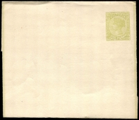 Lot 8733:1885 1d Yellow-Green QV Stieg #E8 on white paper with borders.