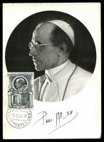 Lot 3593:1953 Popes 5L Pope Pius XII, tied to fine Maxi card by Vatican cds 19 3 54.