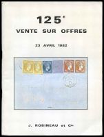 Lot 20:France: J Robineau 1982 April catalogue offering diverse range French postmarks, postal history and adhesives.