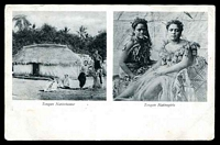 Lot 102:Tonga: Black & white PPC with scene of Tongan Native house and Tongan native girls, fine early card.