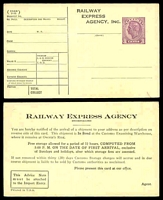 Lot 3237 [1 of 2]:KGVI Post Cards: printed for Railway Express Agency Inc with 3c violet KGVI, two different cards, rare mint survivors. (2)