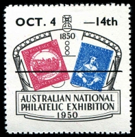 Lot 14:Australia - Exhibition: 1950 Australian National Philatelic Exhibition label with Overprint OCT 4 - 14th .