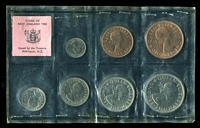 Lot 26 [1 of 2]:New Zealand: 1965 uncirculated set of 7 coins. (7)