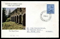 Lot 2614:1962 Christmas 5d tied to illustrated FDC by Norfolk Island cds 19NO62.