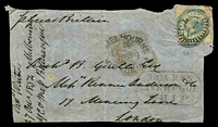 Lot 1630:1854 light weight entire front with 1/- Octagonal tied by Melbourne barred oval cancel with Melbourne OC28 1854 handstamp at left together with Liverpool Ship 24 JA 1855 handstamp, nice piece.