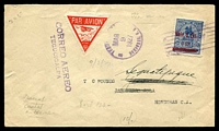 Lot 3135 [1 of 2]:1927 Tegucigalpa - San Pedro cover with adhesive cancelled by Tegucigalpa MAR 9 1927 machine cancel with red Triangle Air Mail label and backstamped with Central American Airlines cachet and signed.