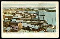 Lot 325:Australia - New South Wales: Multicoloured PPC 'Miller's Point and Balmain Sydney' with view of Sailing ships at dock.