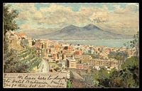 Lot 243 [1 of 2]:Italy: Multicoloured PPC 'The view from Bertolini's Palace Hotel Naples' used from Naples in 1902.